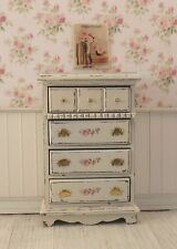 Dollhouse Miniature Shabby Chic Tall Dresser Cream Off White Floral Decals