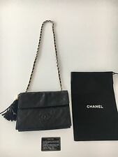 Authentic Vintage Chanel Black Lambskin Flap Chain Tassel Bag