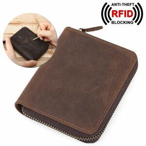 RFID-Herren-Leder-Brieftasche-Muenze-Kartenhalter-Tasche-Reissverschluss-Geldboerse