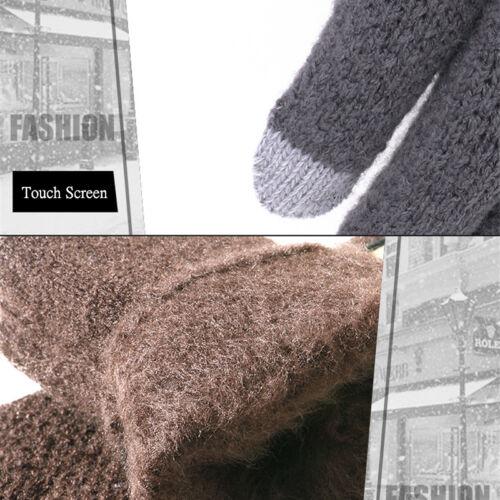 Men Women Winter Warm Kint Full Finger Fleece Lined Touch Screen Thermal Gloves