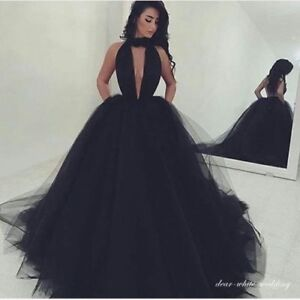 10f85a488d7 2018 Deep V Neck Ball Gown Prom Dresses Black Tulle Halter Long ...