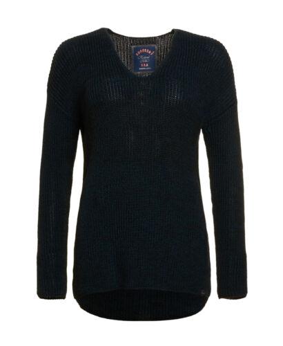 Nueva camiseta para mujer Superdry Factory segunda almeta V-Cuello de Punto en Azul Marino Twist