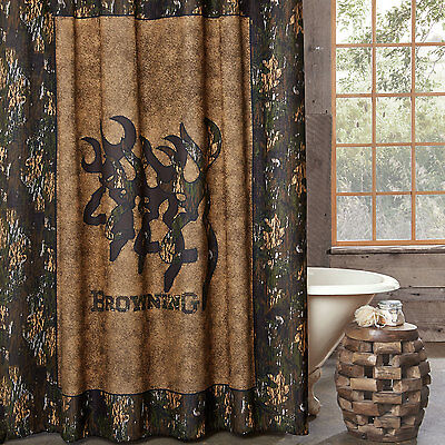 "Browning Oak Tree Buckmark Fabric Shower Curtain 72/"" x 72/"" Deer Hunt Camo Rustic"