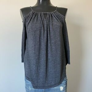 Small-Ladies-MICHAEL-STARS-Reversible-Gray-Cold-Shoulder-Long-Sleeve-Blouse-Top