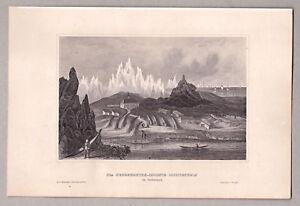 Arktis-Groenland-Herrenhuter-Colonie-Lichtenfels-Stich-Stahlstich-von-1850