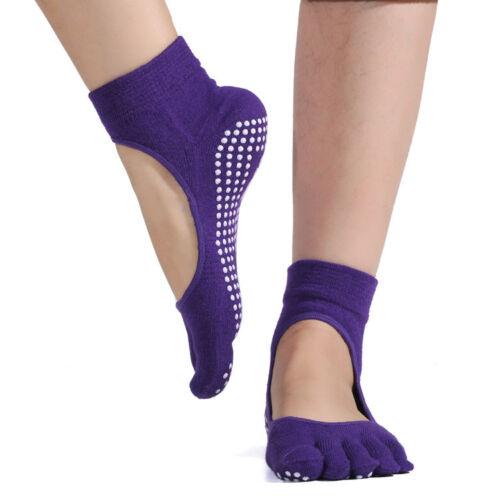 Lady Yoga Pilates Barre Exercise Half Toe Grip Socks Non-Slip Cotton Ankle Socks