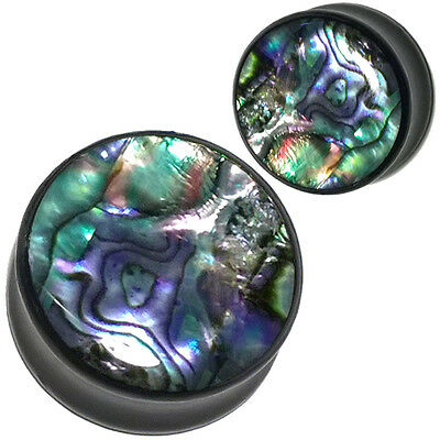 Pair of Abalone Black Wood Ear Plugs - Organic Saddle Fit Ear Gauges 8mm-25mm