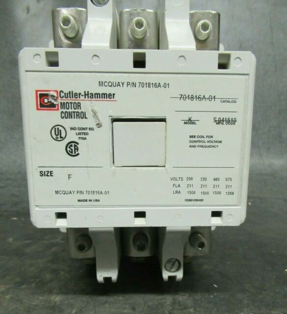 211 AMP CUTLER HAMMER CONTACTOR 701816A-01 600 VAC 3 POLE NEMA: F  Nema Phase Contactor Wiring on