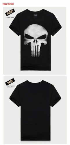 Punisher T-shirt Homme Casual Noir Taille M//L//XL neuf scellé Summer Crâne