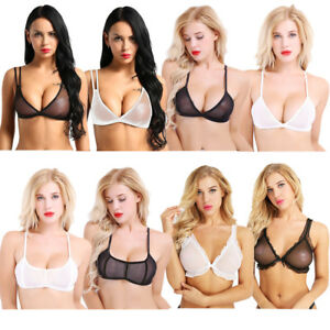 fd420779fca66 Sexy Women Sheer Mesh Bra Top Transparent Bralette Push Up Crop Top ...
