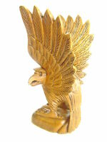 Handcrafted American Eagle 8.25 Brown Imported From Indonesia Wood Carving