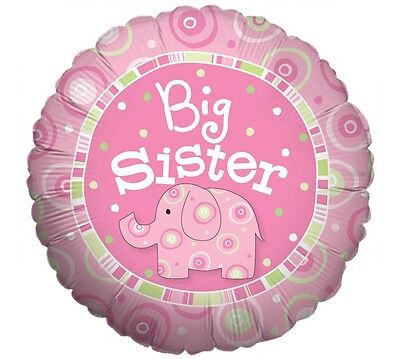 """BIG SISTER Pink Elephant 18"""" Mylar Boy/Girl BABY Shower Welcome Party Balloon"""