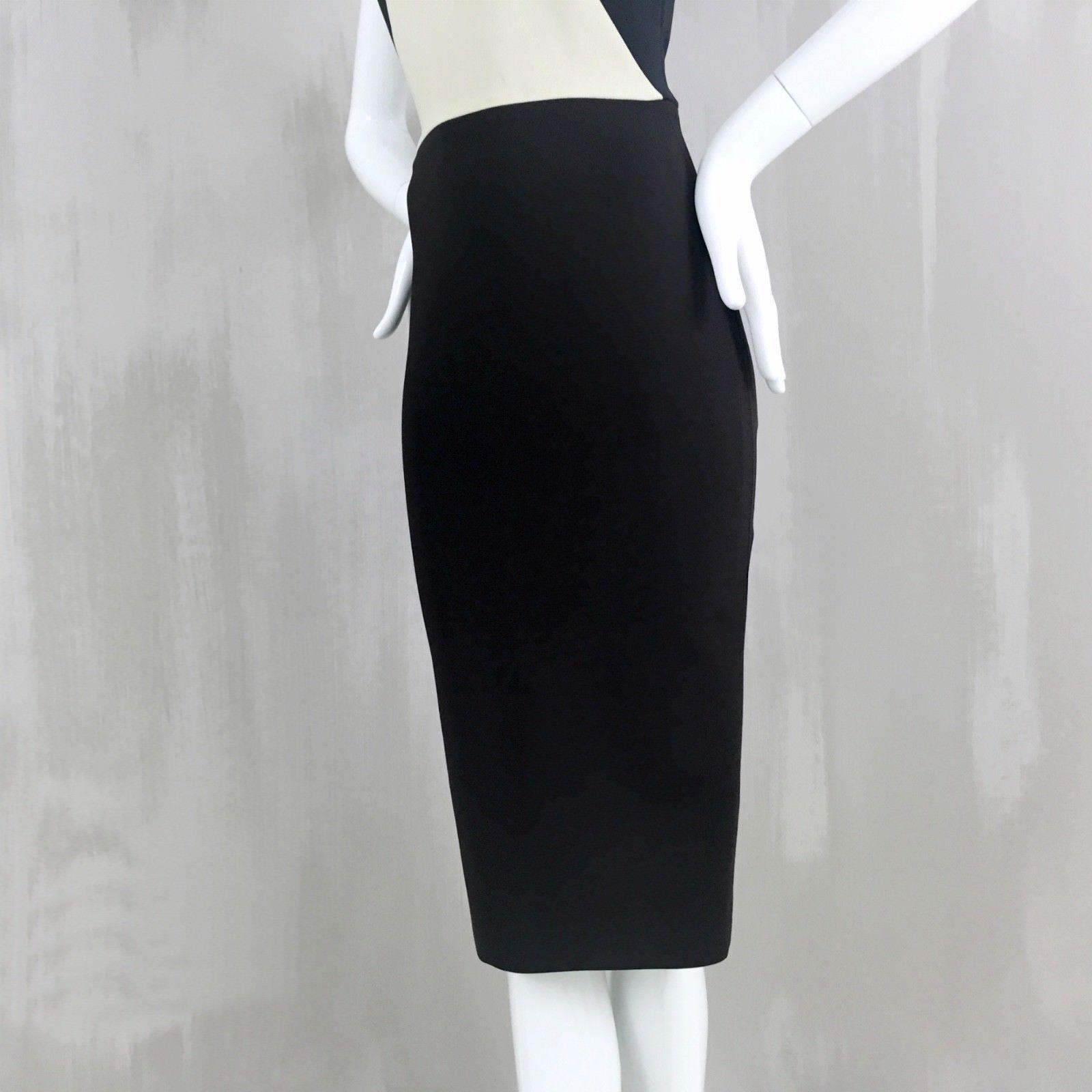 Victoria Beckham schwarz Weiß Back Zip Bodycon Fitted Pencil Pencil Pencil Day Dress Größe UK8 e94a1f