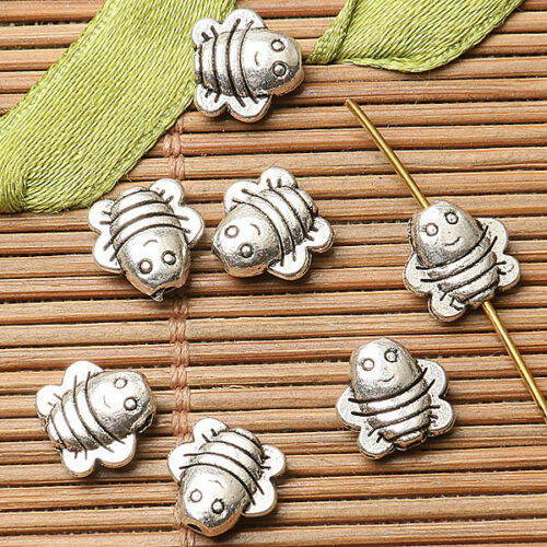 30pcs dark silver color 2sided cute baby bee design spacer  bead  EF2678