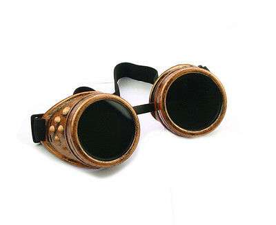 Vintage Victorian Steampunk Goggles Glasses Welding Cyber Punk Gothic Cosplay J