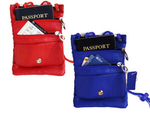 Genuine-Leather-Neck-Strap-Pouch-Passport-ID-Card-Holder-Travel-Cross-Body-Bag