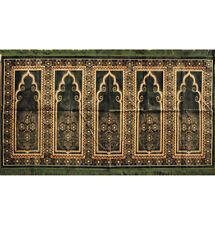 Islamic Family Masjid Prayer Rug Carpet 5 Multi Person Janamaz Sajjadah Green
