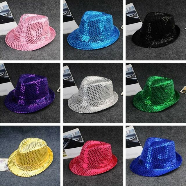 Glitter Sequin Hat MJ Fancy Dress Trilby Hen Party Gangster Bowler Dance Cap