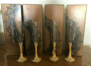 JAY-STRONGWATER-4-CHAMPAGNE-FLUTES-DUCHESS-ARTEMIS-w-BUTTERFLY
