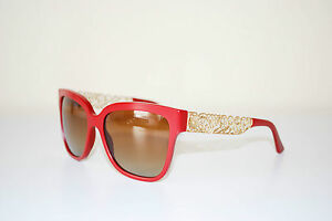 a305a6aa2c06 Dolce and Gabbana Sunglasses Women Gold Flower Lace Red Wayfarer 4212  floral D G