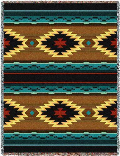 70x53 ANATOLIA Southwest bluee Brown Tapestry Afghan Throw Blanket