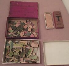 lot of 3 antique 1900 hand cut wood New society scroll lithograph jigsaw puzzle