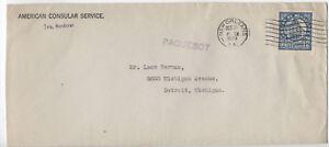 1929-Honduras-to-US-paquebot-American-Consular-Service-cover-y2562