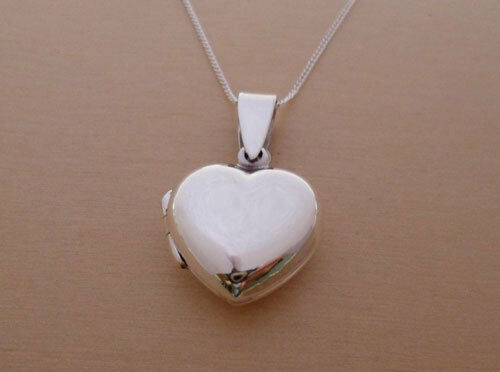 """925 Sterling Silver LOVE HEART Locket Pendant for Photo & 16"""" Silver Curb Chain"""