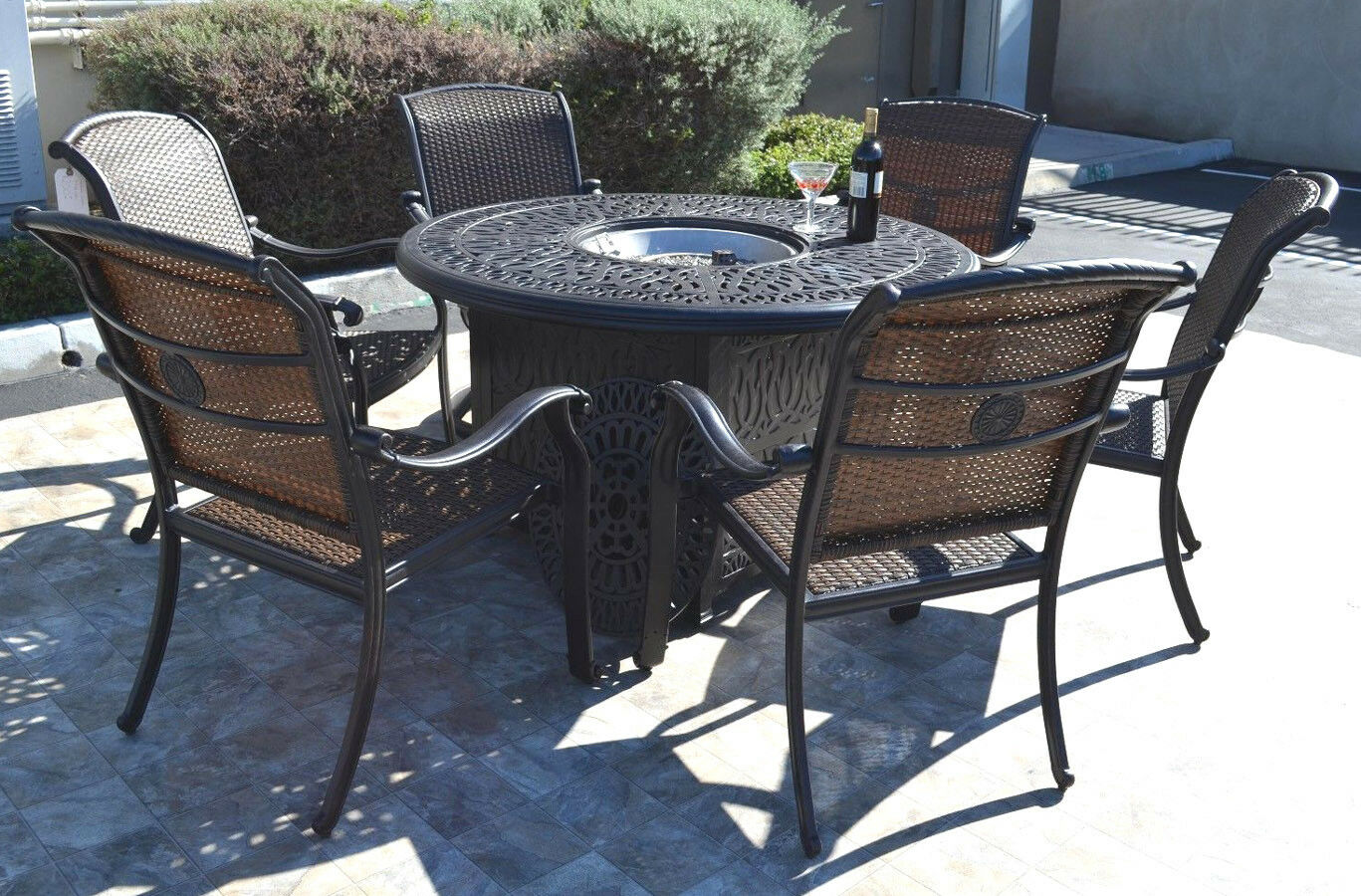 Picture of: Cast Aluminum Wicker Furniture Patio 7pc Fire Pit Dining Set With Round Table For Sale Online
