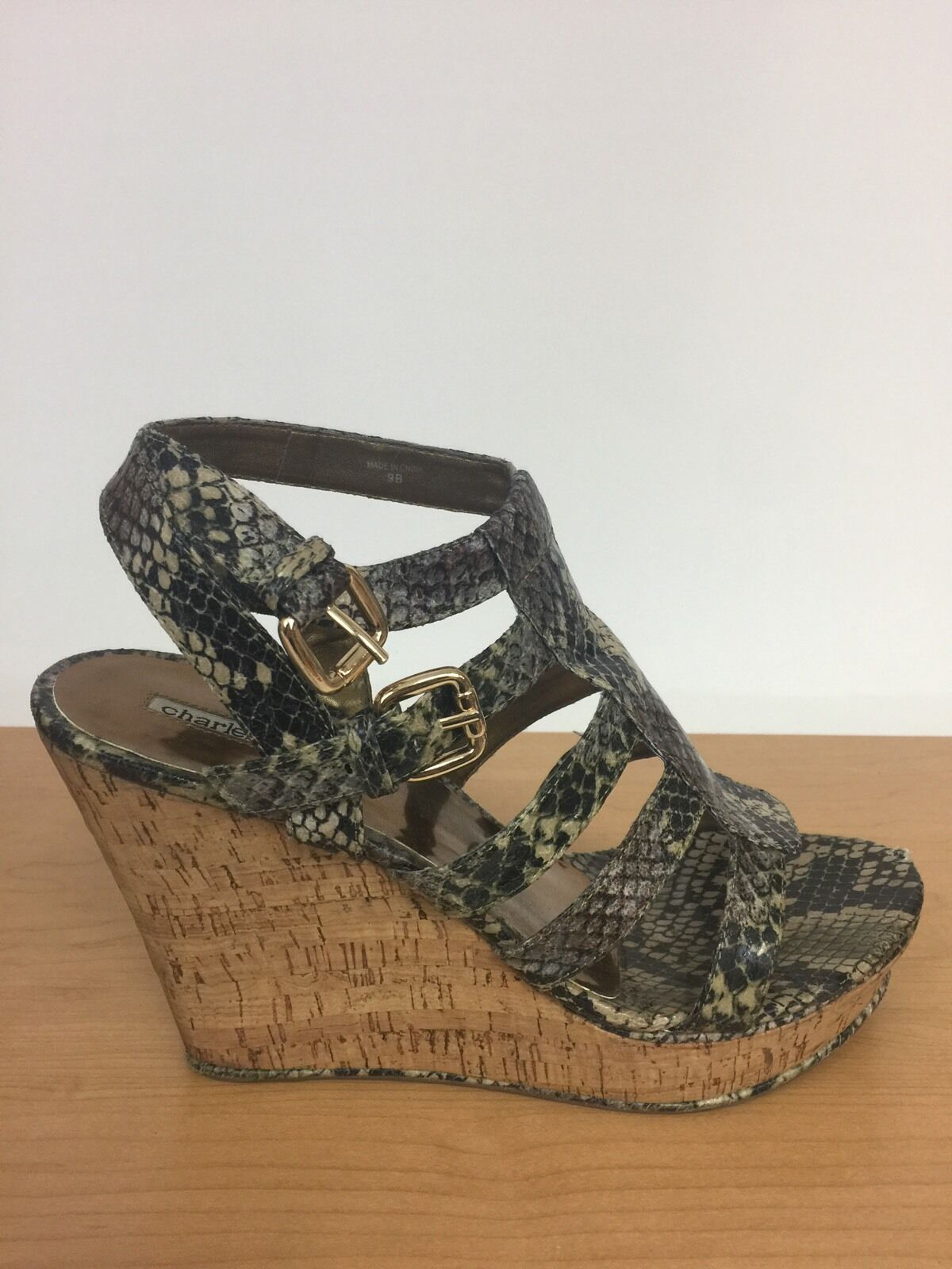 Charles David Wedge/Sandale Damenschuhe Natural Snake Skin Wedge/Sandale David Größe 9 93820b