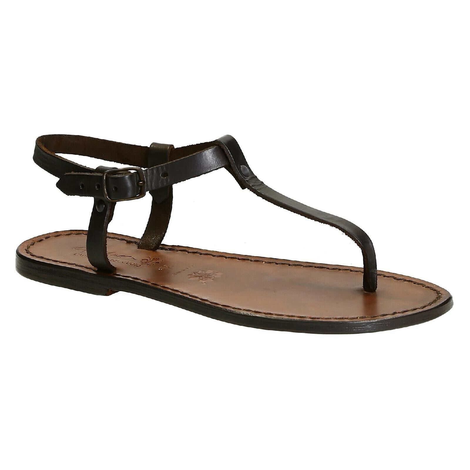 Handmade Women T-strap thong sandals flat shoes dark brown leather Made in