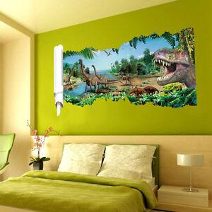 Wandtattoo Wandbild Wandaufkleber Kinderzimmer Dinosaurier Landschaft 3d 22 Ebay