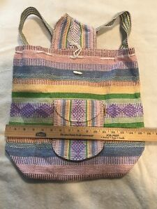 Image Is Loading Backpack Mochila Hand Woven Mexico Beach Hippie Tote