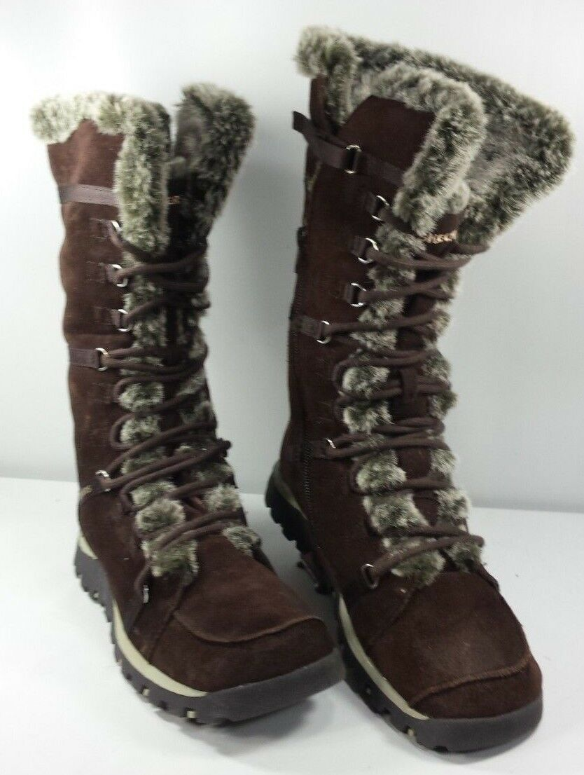Skechers Women's High-Calf Winter Boots Brown Suede Faux Fur Near Mint! Sz 8/38