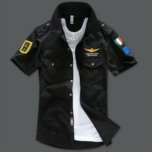 New-Men-039-s-Casual-Shirts-Air-Force-Military-Army-Shirts-Short-Sleeve-Dress-Shirts