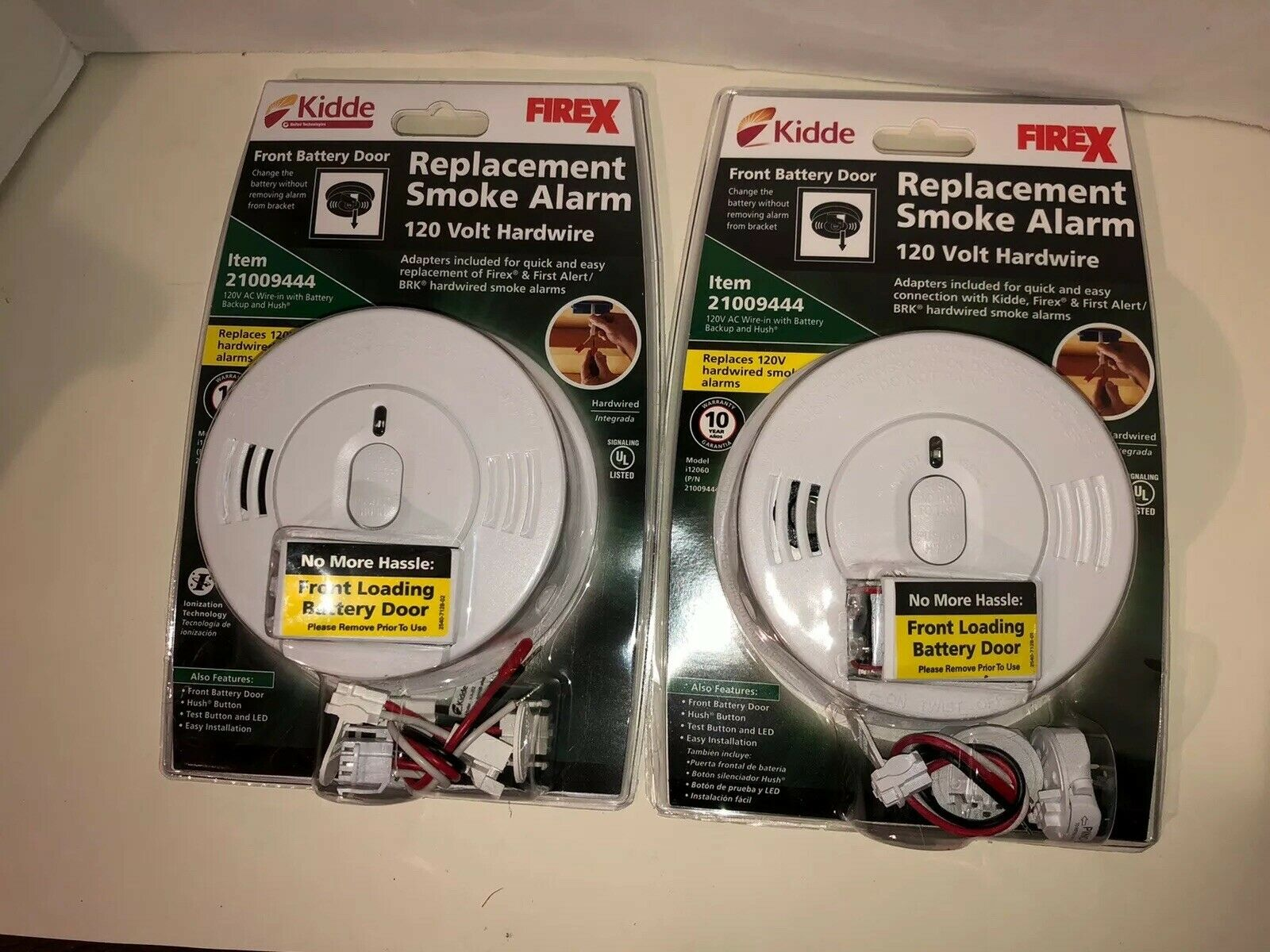 Lot Of 2 Kidde 21009444 Replacement Smoke Alarm 120 Volt Hardwire