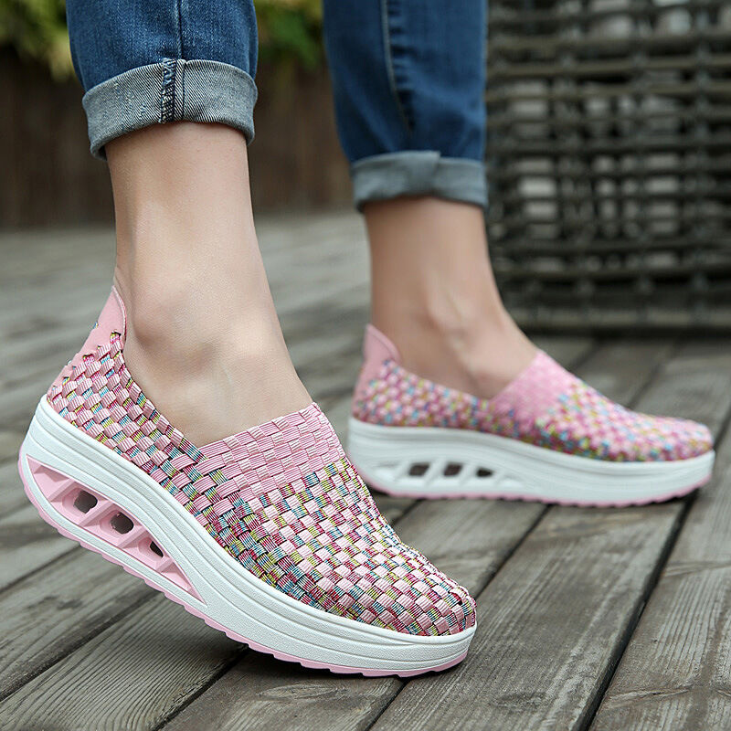 Women's Sneakers Wedge Heels Beach Summer Casual Shoes Sport Woven Slip On New