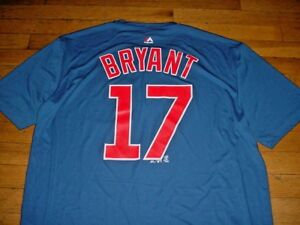 reputable site e6ba5 81422 Details about CHICAGO CUBS Kris Bryant SYNTHETIC NAME AND NUMBER T-SHIRT BY  MAJESTIC Mens XL