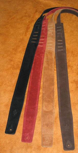 Gefütterter Wildledergurt Cactus 286 - rot - Gitarrengurt - echt Leder