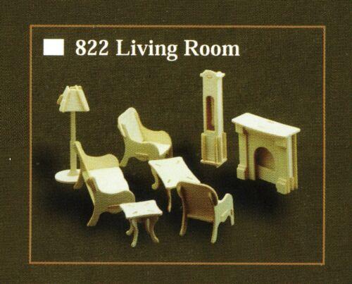 Mobiliario de Sala Modelo Kit Para Casa De Muñecas Escala 12th kit de artesanía de madera