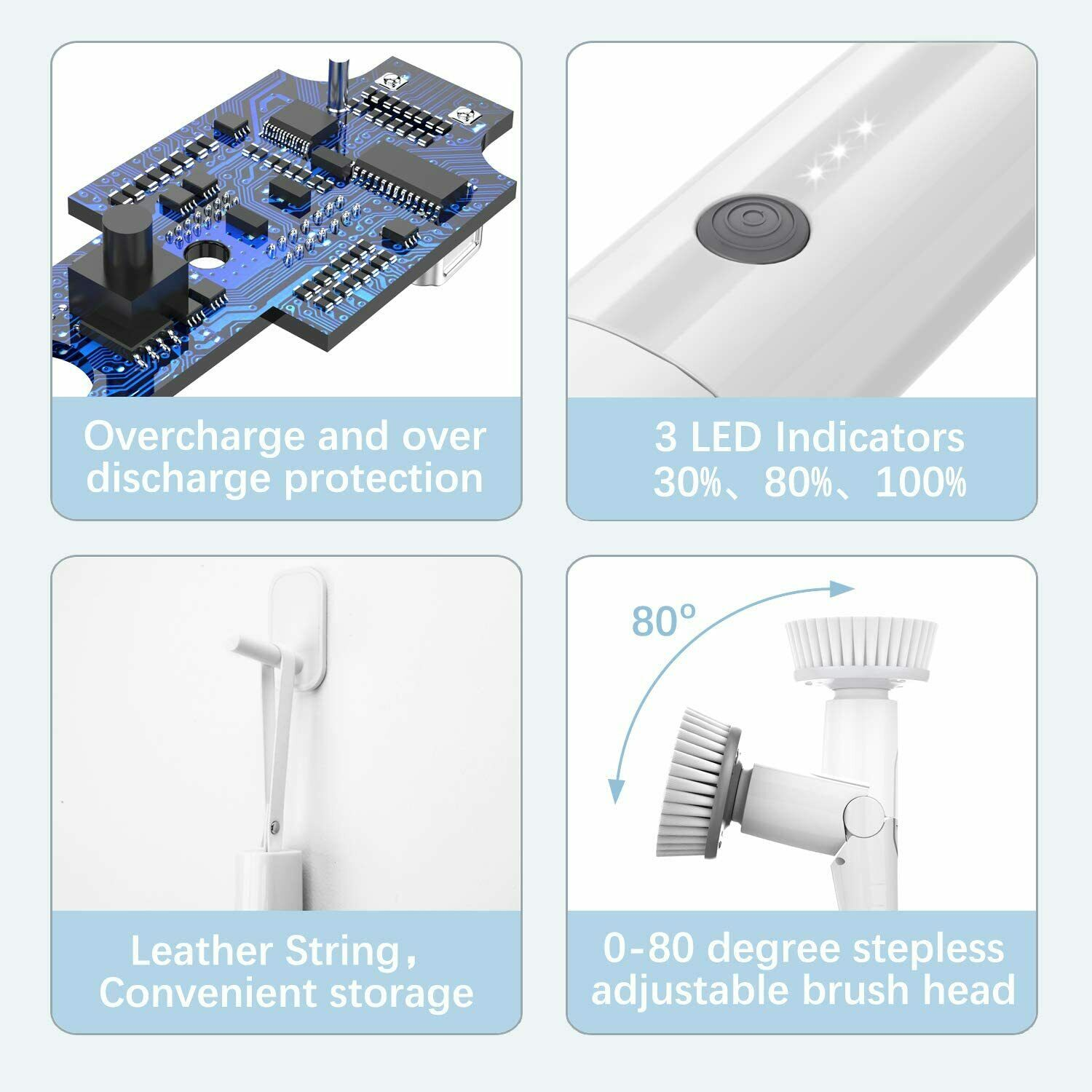 Cordless Grout Shower 360 Power Bathroom Clean Tilswall Electric Spin Scrubber