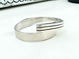 Mexico-Sterling-Silver-925-Modernist-Hinged-TAXCO-Stack-Stacking-Bangle-Bracelet