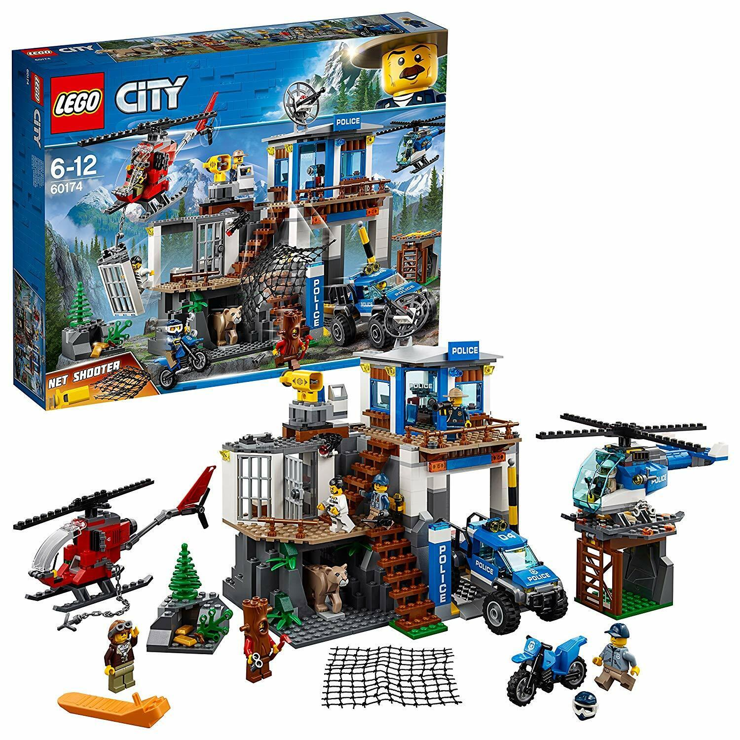 LEGO City Police Mountain Headquarters Building Set Toy Helicopter 4 x 4 Car Fun