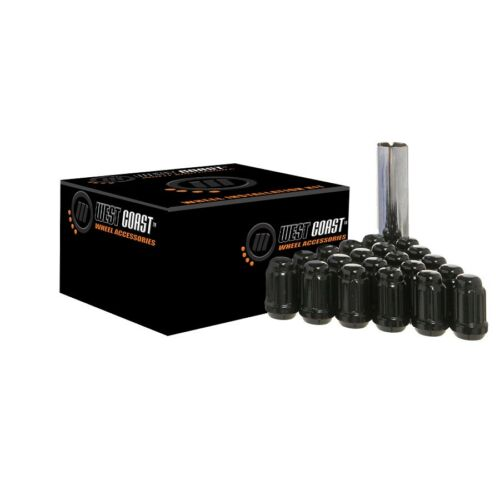 20 Black West Coast Wheel Accessories Spline//Locking Lug Nuts 12x1.5 12-1.5