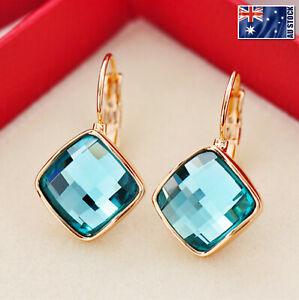 18K-Rose-Gold-GF-13mm-Fashion-Square-CRYSTAL-Hoop-Huggie-Earrings-Multi-Color