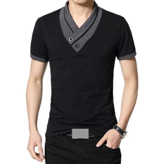 Stylish Men's Short Sleeve Polo Shirt V Neck Slim Fit T-Shirts Casual Blouse Top