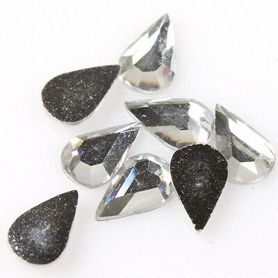 240x 24290 Wholesale White Teardrop Faceted Stick On Flatback Resin Beads 5*8mm
