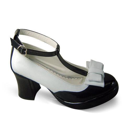 schwarz weiß lolita Shoes damen-Schuhe damen-Schuhe Shoes Platform gothic abendkleid Plateau pumps 30a95d