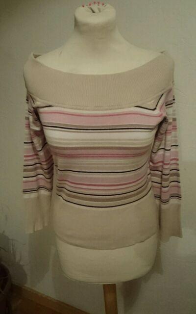 Womens beige Pink top 12 ,3/4 sleeve viscose stretch NEW LOOK Vintage