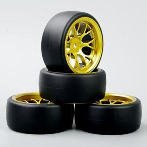 Velocidad-1-10-RC-Drift-Racing-Car-Neumaticos-Slick-neumatico-y-rueda-4PCS-Para-Hpi-Dhg